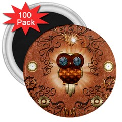 Steampunk, Funny Owl With Clicks And Gears 3  Magnets (100 pack)