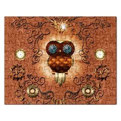 Steampunk, Funny Owl With Clicks And Gears Rectangular Jigsaw Puzzl