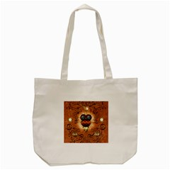 Steampunk, Funny Owl With Clicks And Gears Tote Bag (Cream)