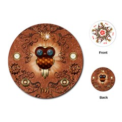 Steampunk, Funny Owl With Clicks And Gears Playing Cards (Round)