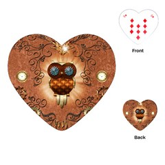 Steampunk, Funny Owl With Clicks And Gears Playing Cards (Heart)
