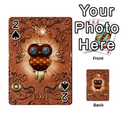 Steampunk, Funny Owl With Clicks And Gears Playing Cards 54 Designs