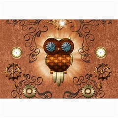 Steampunk, Funny Owl With Clicks And Gears Collage 12  x 18