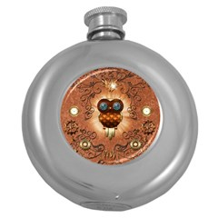 Steampunk, Funny Owl With Clicks And Gears Round Hip Flask (5 oz)