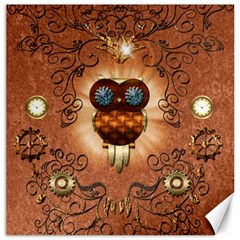 Steampunk, Funny Owl With Clicks And Gears Canvas 16  x 16