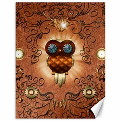 Steampunk, Funny Owl With Clicks And Gears Canvas 18  x 24