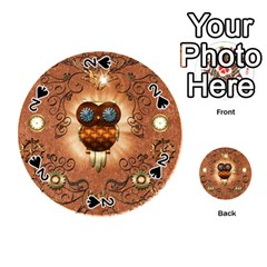 Steampunk, Funny Owl With Clicks And Gears Playing Cards 54 (Round)