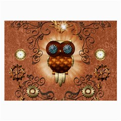 Steampunk, Funny Owl With Clicks And Gears Large Glasses Cloth