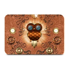 Steampunk, Funny Owl With Clicks And Gears Plate Mats