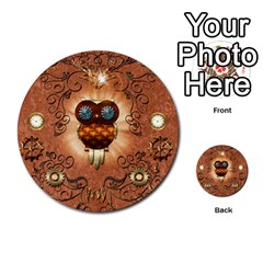 Steampunk, Funny Owl With Clicks And Gears Multi-purpose Cards (Round)
