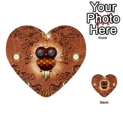 Steampunk, Funny Owl With Clicks And Gears Multi Purpose Cards (heart)