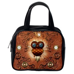 Steampunk, Funny Owl With Clicks And Gears Classic Handbags (One Side)