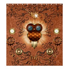 Steampunk, Funny Owl With Clicks And Gears Shower Curtain 66  X 72  (large)