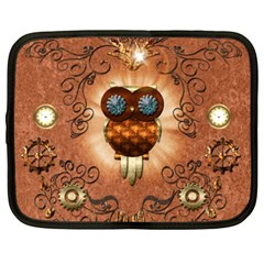 Steampunk, Funny Owl With Clicks And Gears Netbook Case (xxl)