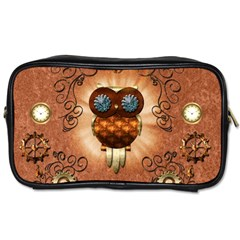 Steampunk, Funny Owl With Clicks And Gears Toiletries Bags