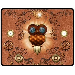 Steampunk, Funny Owl With Clicks And Gears Fleece Blanket (medium)