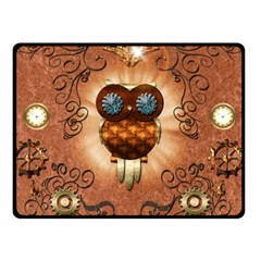 Steampunk, Funny Owl With Clicks And Gears Fleece Blanket (Small)
