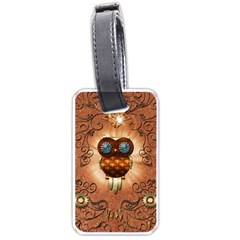 Steampunk, Funny Owl With Clicks And Gears Luggage Tags (Two Sides)