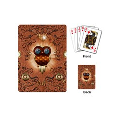 Steampunk, Funny Owl With Clicks And Gears Playing Cards (Mini)