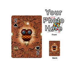 Steampunk, Funny Owl With Clicks And Gears Playing Cards 54 (Mini)