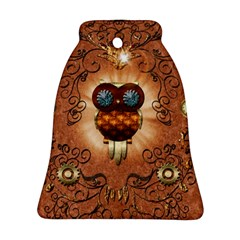 Steampunk, Funny Owl With Clicks And Gears Ornament (Bell)