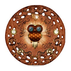 Steampunk, Funny Owl With Clicks And Gears Round Filigree Ornament (2Side)