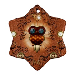 Steampunk, Funny Owl With Clicks And Gears Snowflake Ornament (2-Side)