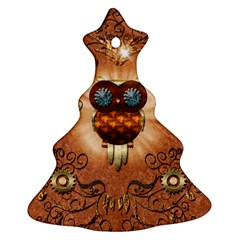 Steampunk, Funny Owl With Clicks And Gears Christmas Tree Ornament (2 Sides)