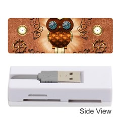 Steampunk, Funny Owl With Clicks And Gears Memory Card Reader (stick)