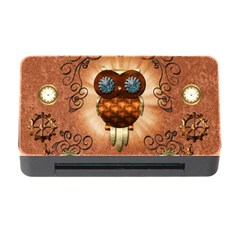 Steampunk, Funny Owl With Clicks And Gears Memory Card Reader with CF