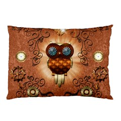 Steampunk, Funny Owl With Clicks And Gears Pillow Cases (Two Sides)