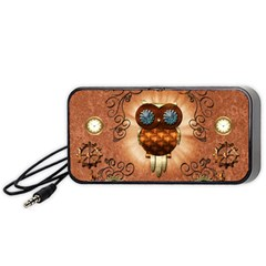 Steampunk, Funny Owl With Clicks And Gears Portable Speaker (Black)