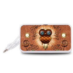 Steampunk, Funny Owl With Clicks And Gears Portable Speaker (White)
