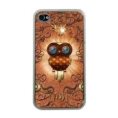 Steampunk, Funny Owl With Clicks And Gears Apple iPhone 4 Case (Clear)