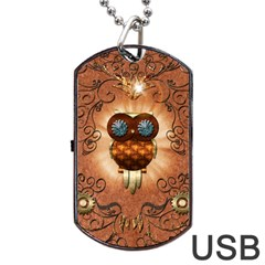Steampunk, Funny Owl With Clicks And Gears Dog Tag USB Flash (One Side)