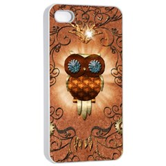 Steampunk, Funny Owl With Clicks And Gears Apple Iphone 4/4s Seamless Case (white)