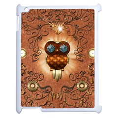 Steampunk, Funny Owl With Clicks And Gears Apple iPad 2 Case (White)