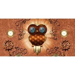 Steampunk, Funny Owl With Clicks And Gears You Are Invited 3d Greeting Card (8x4)