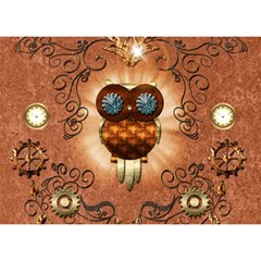 Steampunk, Funny Owl With Clicks And Gears Birthday Cake 3D Greeting Card (7x5)