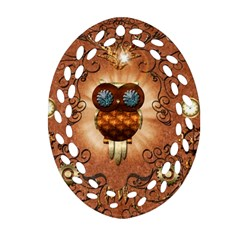 Steampunk, Funny Owl With Clicks And Gears Oval Filigree Ornament (2-Side)