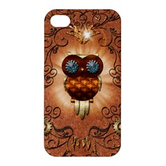 Steampunk, Funny Owl With Clicks And Gears Apple iPhone 4/4S Premium Hardshell Case