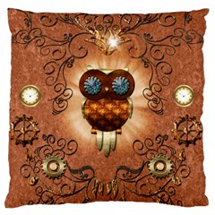 Steampunk, Funny Owl With Clicks And Gears Large Cushion Cases (Two Sides)