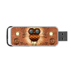 Steampunk, Funny Owl With Clicks And Gears Portable Usb Flash (two Sides)