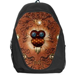 Steampunk, Funny Owl With Clicks And Gears Backpack Bag