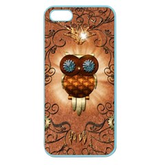 Steampunk, Funny Owl With Clicks And Gears Apple Seamless iPhone 5 Case (Color)