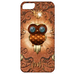 Steampunk, Funny Owl With Clicks And Gears Apple iPhone 5 Classic Hardshell Case