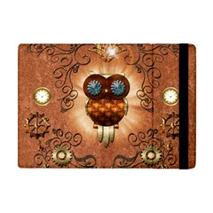 Steampunk, Funny Owl With Clicks And Gears Apple iPad Mini Flip Case