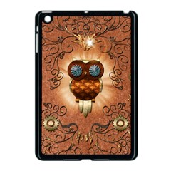 Steampunk, Funny Owl With Clicks And Gears Apple iPad Mini Case (Black)