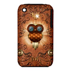 Steampunk, Funny Owl With Clicks And Gears Apple iPhone 3G/3GS Hardshell Case (PC+Silicone)