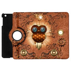 Steampunk, Funny Owl With Clicks And Gears Apple iPad Mini Flip 360 Case
